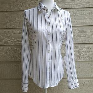 Express White/black semi Sheer Striped  blouse szM